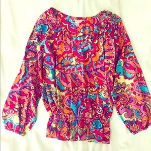 Lilly Pulitzer Silk Multicolored Blouse, Size Sm